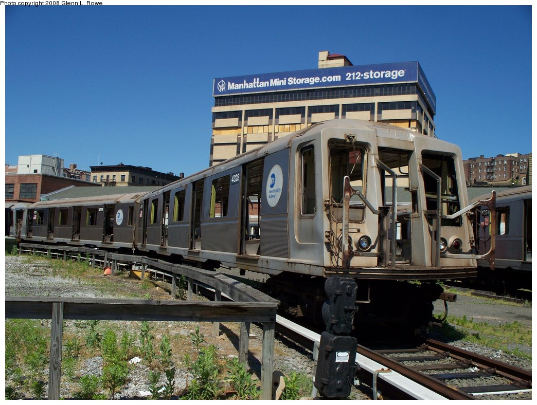 (254k, 1044x788)<br><b>Country:</b> United States<br><b>City:</b> New York<br><b>System:</b> New York City Transit<br><b>Location:</b> 207th Street Yard<br><b>Car:</b> R-40 (St. Louis, 1968)  4328 <br><b>Photo by:</b> Glenn L. Rowe<br><b>Date:</b> 6/12/2008<br><b>Notes:</b> Scrap<br><b>Viewed (this week/total):</b> 6 / 1818