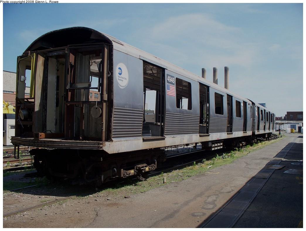 (218k, 1044x788)<br><b>Country:</b> United States<br><b>City:</b> New York<br><b>System:</b> New York City Transit<br><b>Location:</b> 207th Street Yard<br><b>Car:</b> R-42 (St. Louis, 1969-1970)  4946 <br><b>Photo by:</b> Glenn L. Rowe<br><b>Date:</b> 6/13/2008<br><b>Notes:</b> Scrap<br><b>Viewed (this week/total):</b> 1 / 1349