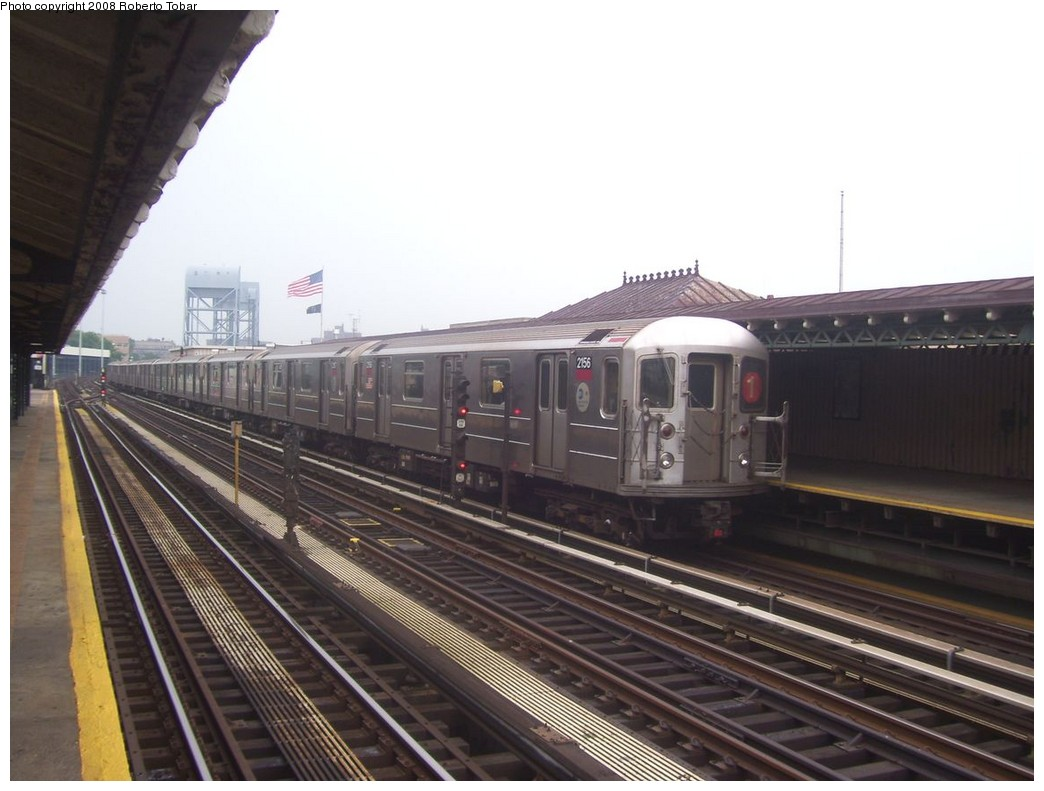 (177k, 1044x791)<br><b>Country:</b> United States<br><b>City:</b> New York<br><b>System:</b> New York City Transit<br><b>Line:</b> IRT West Side Line<br><b>Location:</b> 215th Street <br><b>Route:</b> 1<br><b>Car:</b> R-62A (Bombardier, 1984-1987)  2156 <br><b>Photo by:</b> Roberto C. Tobar<br><b>Date:</b> 6/14/2008<br><b>Viewed (this week/total):</b> 1 / 1945