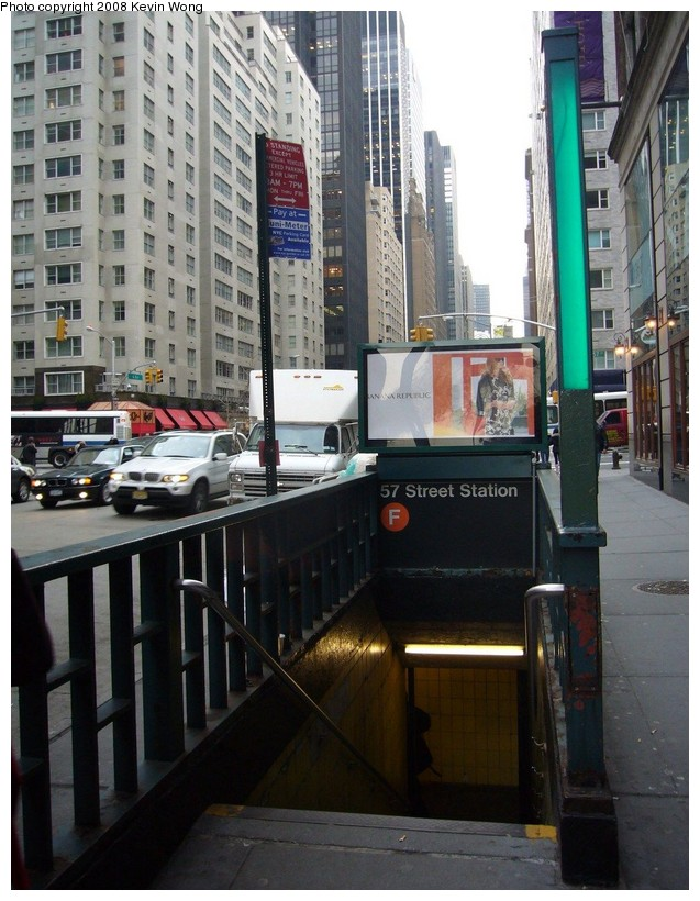 (146k, 637x820)<br><b>Country:</b> United States<br><b>City:</b> New York<br><b>System:</b> New York City Transit<br><b>Line:</b> IND 6th Avenue Line<br><b>Location:</b> 57th Street <br><b>Photo by:</b> Kevin Wong<br><b>Date:</b> 3/6/2008<br><b>Notes:</b> Station entrance.<br><b>Viewed (this week/total):</b> 0 / 2613