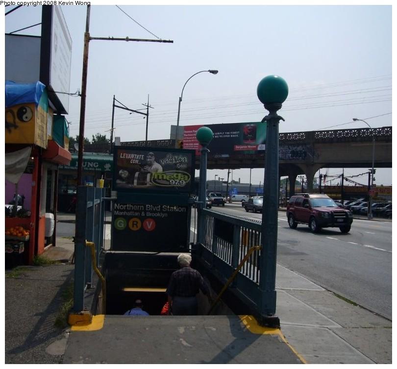 (127k, 810x753)<br><b>Country:</b> United States<br><b>City:</b> New York<br><b>System:</b> New York City Transit<br><b>Line:</b> IND Queens Boulevard Line<br><b>Location:</b> Northern Boulevard <br><b>Photo by:</b> Kevin Wong<br><b>Date:</b> 6/27/2007<br><b>Notes:</b> Station entrance.<br><b>Viewed (this week/total):</b> 2 / 3409
