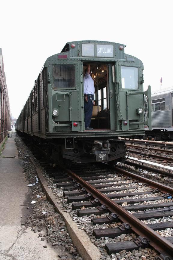 (106k, 576x864)<br><b>Country:</b> United States<br><b>City:</b> New York<br><b>System:</b> New York City Transit<br><b>Location:</b> 207th Street Yard<br><b>Route:</b> Fan Trip<br><b>Car:</b> R-9 (Pressed Steel, 1940)  1802 <br><b>Photo by:</b> Bill Demo<br><b>Date:</b> 6/15/2008<br><b>Notes:</b> Prepping R1-R9 train for fantrip.<br><b>Viewed (this week/total):</b> 0 / 1658