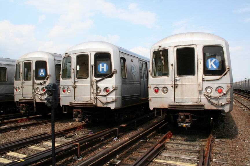 (98k, 864x576)<br><b>Country:</b> United States<br><b>City:</b> New York<br><b>System:</b> New York City Transit<br><b>Location:</b> Rockaway Park Yard<br><b>Car:</b> R-44 (St. Louis, 1971-73)  <br><b>Photo by:</b> Bill Demo<br><b>Date:</b> 6/16/2008<br><b>Notes:</b> Notice roll signs set to various routes that formerly served the Rockaways.<br><b>Viewed (this week/total):</b> 1 / 4937