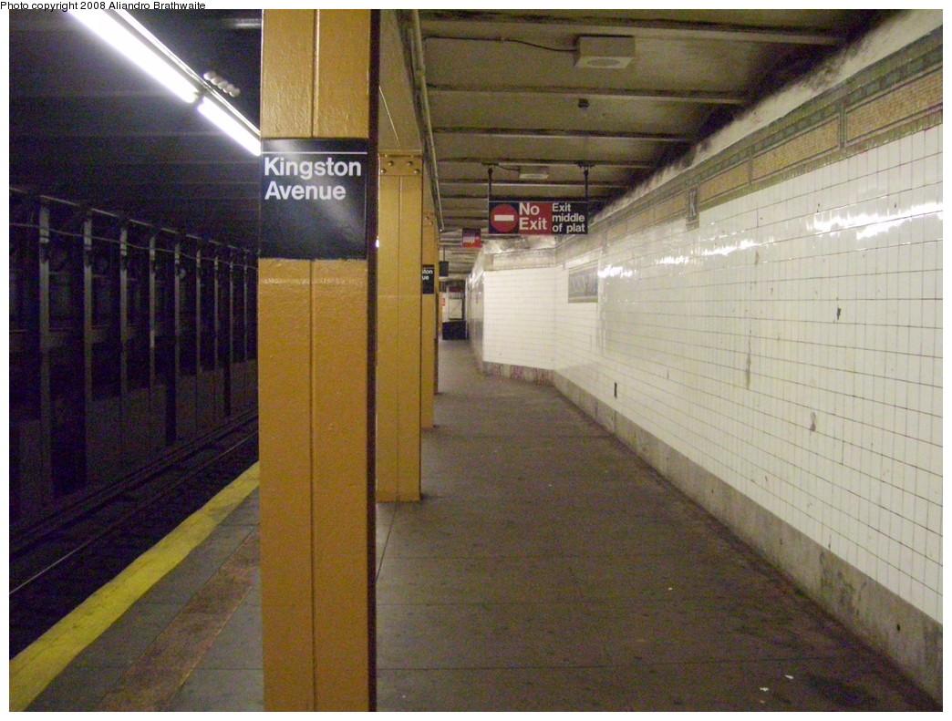 (251k, 1044x791)<br><b>Country:</b> United States<br><b>City:</b> New York<br><b>System:</b> New York City Transit<br><b>Line:</b> IRT Brooklyn Line<br><b>Location:</b> Kingston Avenue <br><b>Photo by:</b> Aliandro Brathwaite<br><b>Date:</b> 6/15/2008<br><b>Notes:</b> Downtown/outbound platform looking east.<br><b>Viewed (this week/total):</b> 0 / 2099