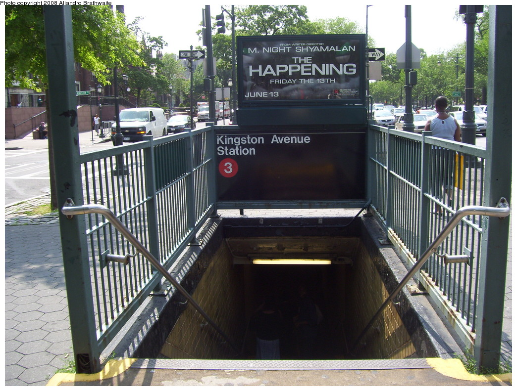 (296k, 1044x791)<br><b>Country:</b> United States<br><b>City:</b> New York<br><b>System:</b> New York City Transit<br><b>Line:</b> IRT Brooklyn Line<br><b>Location:</b> Kingston Avenue <br><b>Photo by:</b> Aliandro Brathwaite<br><b>Date:</b> 6/15/2008<br><b>Notes:</b> Station entrance.<br><b>Viewed (this week/total):</b> 2 / 2880