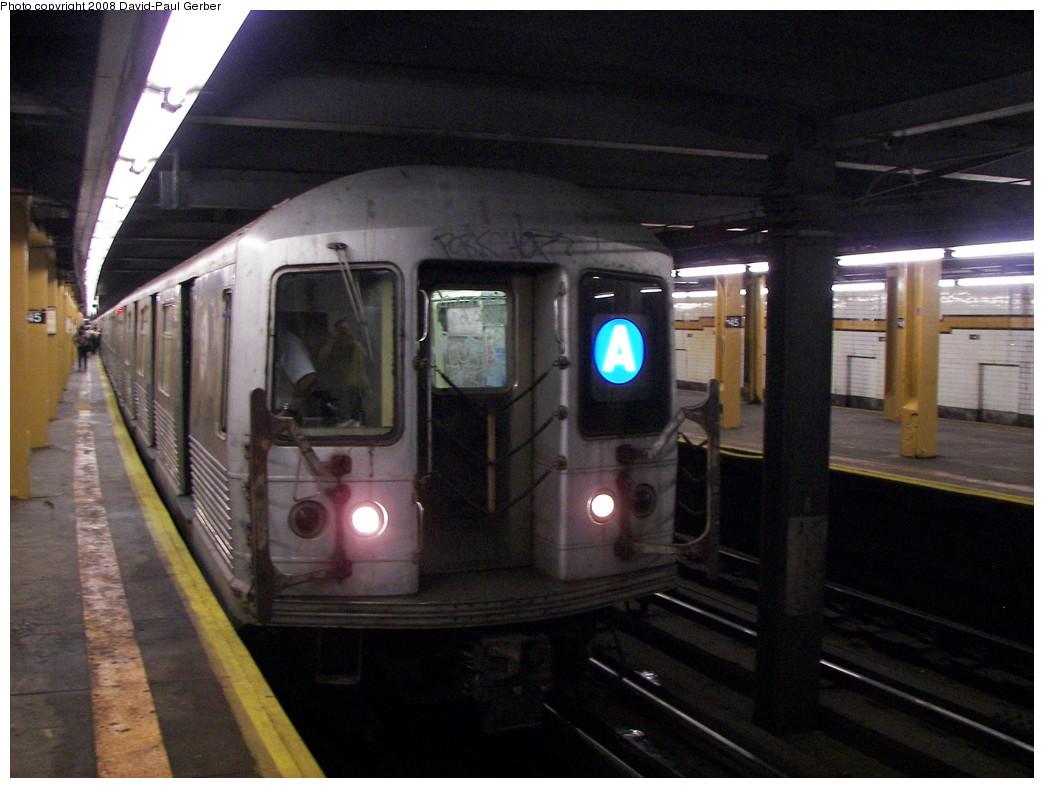 (253k, 1044x788)<br><b>Country:</b> United States<br><b>City:</b> New York<br><b>System:</b> New York City Transit<br><b>Line:</b> IND 8th Avenue Line<br><b>Location:</b> 145th Street <br><b>Route:</b> A<br><b>Car:</b> R-42 (St. Louis, 1969-1970)   <br><b>Photo by:</b> David-Paul Gerber<br><b>Date:</b> 6/9/2008<br><b>Viewed (this week/total):</b> 0 / 2296
