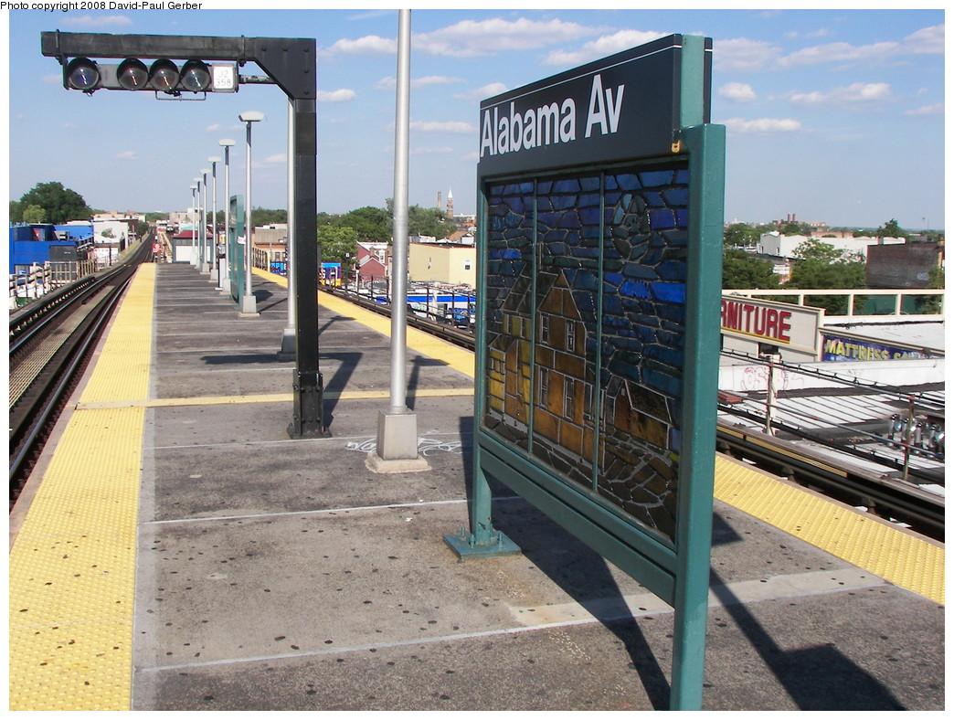 (327k, 1044x788)<br><b>Country:</b> United States<br><b>City:</b> New York<br><b>System:</b> New York City Transit<br><b>Line:</b> BMT Nassau Street/Jamaica Line<br><b>Location:</b> Alabama Avenue <br><b>Photo by:</b> David-Paul Gerber<br><b>Date:</b> 6/11/2008<br><b>Notes:</b> Platform view.<br><b>Viewed (this week/total):</b> 0 / 1330