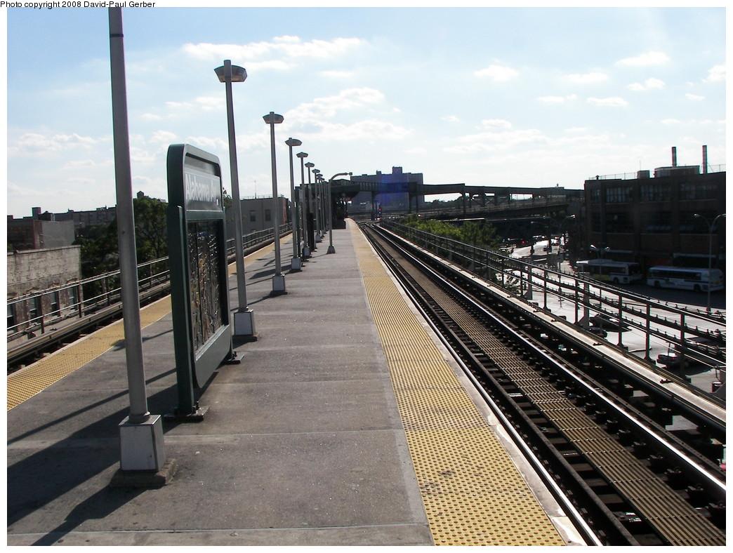 (302k, 1044x788)<br><b>Country:</b> United States<br><b>City:</b> New York<br><b>System:</b> New York City Transit<br><b>Line:</b> BMT Nassau Street/Jamaica Line<br><b>Location:</b> Alabama Avenue <br><b>Photo by:</b> David-Paul Gerber<br><b>Date:</b> 6/11/2008<br><b>Notes:</b> Platform view.<br><b>Viewed (this week/total):</b> 0 / 1182