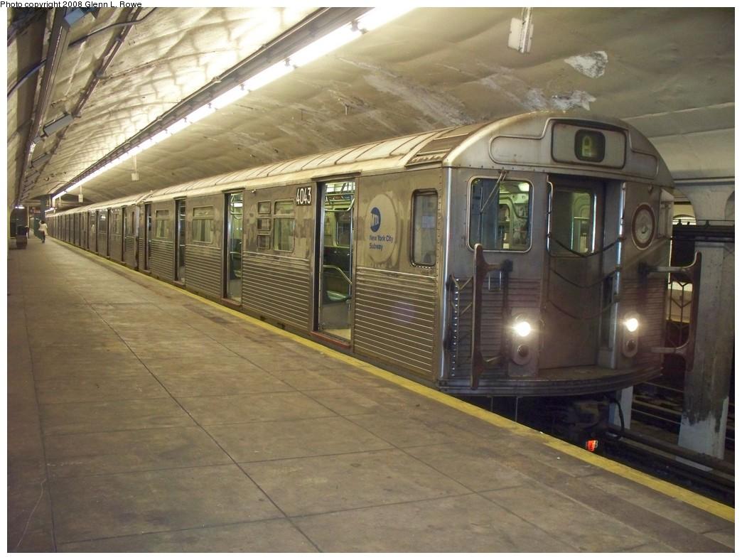 (212k, 1044x788)<br><b>Country:</b> United States<br><b>City:</b> New York<br><b>System:</b> New York City Transit<br><b>Line:</b> IND 8th Avenue Line<br><b>Location:</b> 190th Street/Overlook Terrace <br><b>Route:</b> A<br><b>Car:</b> R-38 (St. Louis, 1966-1967)  4043 <br><b>Photo by:</b> Glenn L. Rowe<br><b>Date:</b> 6/20/2008<br><b>Viewed (this week/total):</b> 6 / 1602