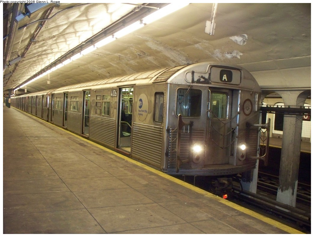 (214k, 1044x788)<br><b>Country:</b> United States<br><b>City:</b> New York<br><b>System:</b> New York City Transit<br><b>Line:</b> IND 8th Avenue Line<br><b>Location:</b> 190th Street/Overlook Terrace <br><b>Route:</b> A<br><b>Car:</b> R-38 (St. Louis, 1966-1967)  4106 <br><b>Photo by:</b> Glenn L. Rowe<br><b>Date:</b> 6/17/2008<br><b>Viewed (this week/total):</b> 0 / 2677