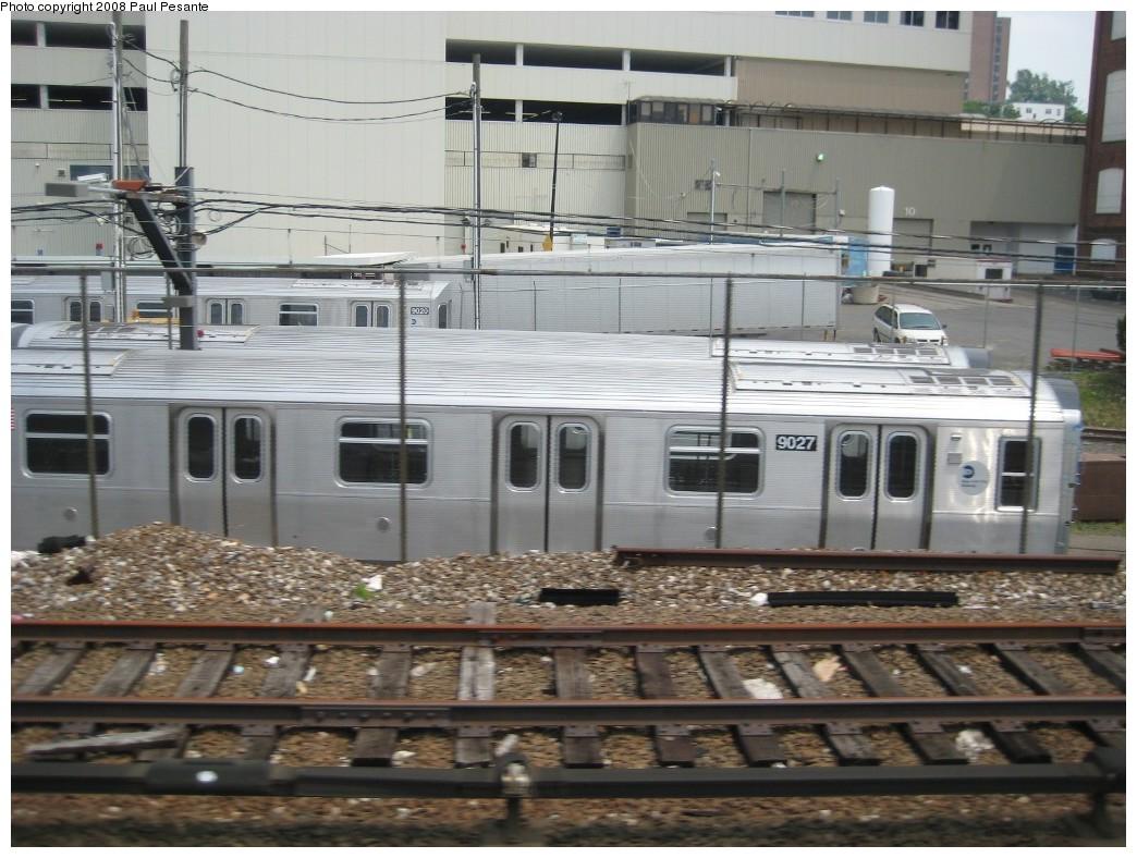 (212k, 1044x788)<br><b>Country:</b> United States<br><b>City:</b> New York<br><b>System:</b> New York City Transit<br><b>Location:</b> Kawasaki Plant, Yonkers, NY<br><b>Car:</b> R-160B (Option 1) (Kawasaki, 2008-2009)  9027 <br><b>Photo by:</b> Paul Pesante<br><b>Date:</b> 6/14/2008<br><b>Viewed (this week/total):</b> 0 / 1303