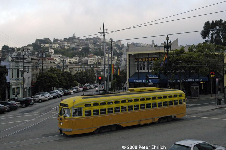 (179k, 864x574)<br><b>Country:</b> United States<br><b>City:</b> San Francisco/Bay Area, CA<br><b>System:</b> SF MUNI<br><b>Location:</b> Market/16th/Noe<br><b>Route:</b> F-Market<br><b>Car:</b> SF MUNI PCC (Ex-SEPTA) (St. Louis Car Co., 1947-1948) 1052 <br><b>Photo by:</b> Peter Ehrlich<br><b>Date:</b> 6/3/2008<br><b>Notes:</b> Market/Noe/16th Street inbound.<br><b>Viewed (this week/total):</b> 0 / 458