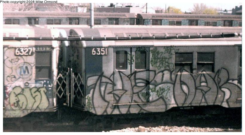 (148k, 820x455)<br><b>Country:</b> United States<br><b>City:</b> New York<br><b>System:</b> New York City Transit<br><b>Location:</b> Rockaway Parkway (Canarsie) Yard<br><b>Car:</b> R-16 (American Car & Foundry, 1955) 6351 <br><b>Photo by:</b> Mike Ormond<br><b>Date:</b> 1981<br><b>Viewed (this week/total):</b> 2 / 2449