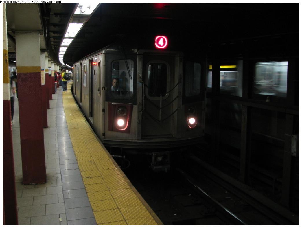 (144k, 1044x788)<br><b>Country:</b> United States<br><b>City:</b> New York<br><b>System:</b> New York City Transit<br><b>Line:</b> IRT East Side Line<br><b>Location:</b> Brooklyn Bridge/City Hall <br><b>Route:</b> 4<br><b>Car:</b> R-142 (Option Order, Bombardier, 2002-2003)  1245 <br><b>Photo by:</b> Andrew Johnson<br><b>Date:</b> 5/7/2008<br><b>Viewed (this week/total):</b> 0 / 3283