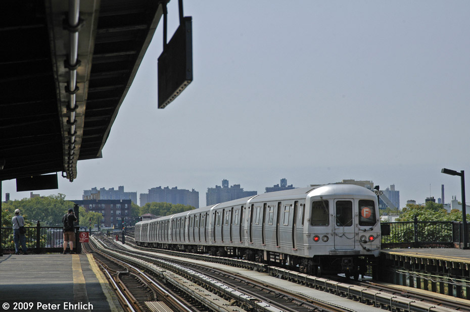 (171k, 930x618)<br><b>Country:</b> United States<br><b>City:</b> New York<br><b>System:</b> New York City Transit<br><b>Line:</b> BMT Culver Line<br><b>Location:</b> Avenue P <br><b>Route:</b> F<br><b>Car:</b> R-46 (Pullman-Standard, 1974-75) 5970 <br><b>Photo by:</b> Peter Ehrlich<br><b>Date:</b> 7/22/2009<br><b>Notes:</b> Outbound<br><b>Viewed (this week/total):</b> 1 / 833