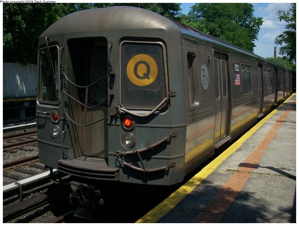 (265k, 1044x788)<br><b>Country:</b> United States<br><b>City:</b> New York<br><b>System:</b> New York City Transit<br><b>Line:</b> BMT Brighton Line<br><b>Location:</b> Avenue M <br><b>Route:</b> Q<br><b>Car:</b> R-68A (Kawasaki, 1988-1989)  5122 <br><b>Photo by:</b> Zach Summer<br><b>Date:</b> 6/24/2008<br><b>Viewed (this week/total):</b> 0 / 1542