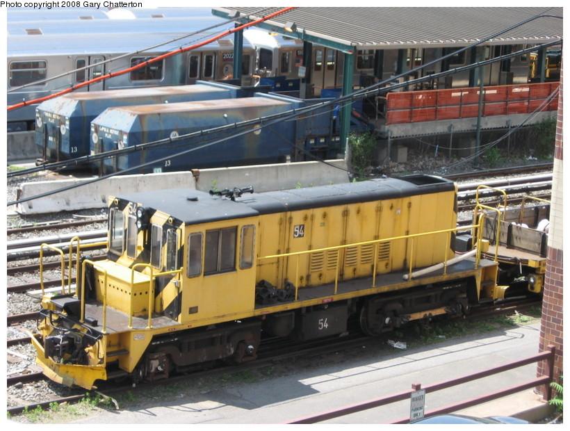 (172k, 820x620)<br><b>Country:</b> United States<br><b>City:</b> New York<br><b>System:</b> New York City Transit<br><b>Location:</b> Corona Yard<br><b>Car:</b> R-41 Locomotive  54 <br><b>Photo by:</b> Gary Chatterton<br><b>Date:</b> 6/18/2008<br><b>Viewed (this week/total):</b> 0 / 1712