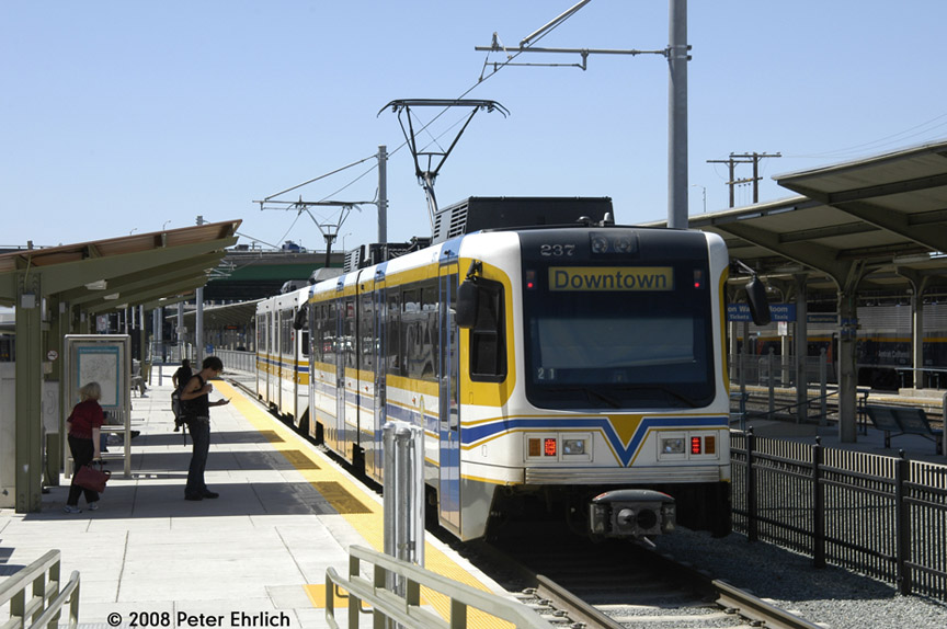 (176k, 864x574)<br><b>Country:</b> United States<br><b>City:</b> Sacramento, CA<br><b>System:</b> SACRT Light Rail<br><b>Location:</b> Sacramento Valley Station (Amtrak) <br><b>Car:</b> Sacramento CAF LRV  237 <br><b>Photo by:</b> Peter Ehrlich<br><b>Date:</b> 5/16/2008<br><b>Viewed (this week/total):</b> 0 / 711