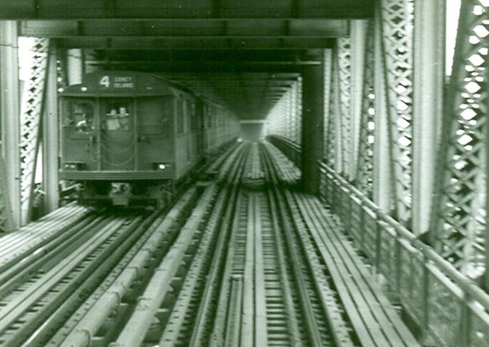 (111k, 691x491)<br><b>Country:</b> United States<br><b>City:</b> New York<br><b>System:</b> New York City Transit<br><b>Location:</b> Manhattan Bridge<br><b>Car:</b> BMT D-Type Triplex  <br><b>Photo by:</b> Brian J. Cudahy<br><b>Date:</b> 1955<br><b>Viewed (this week/total):</b> 2 / 2256