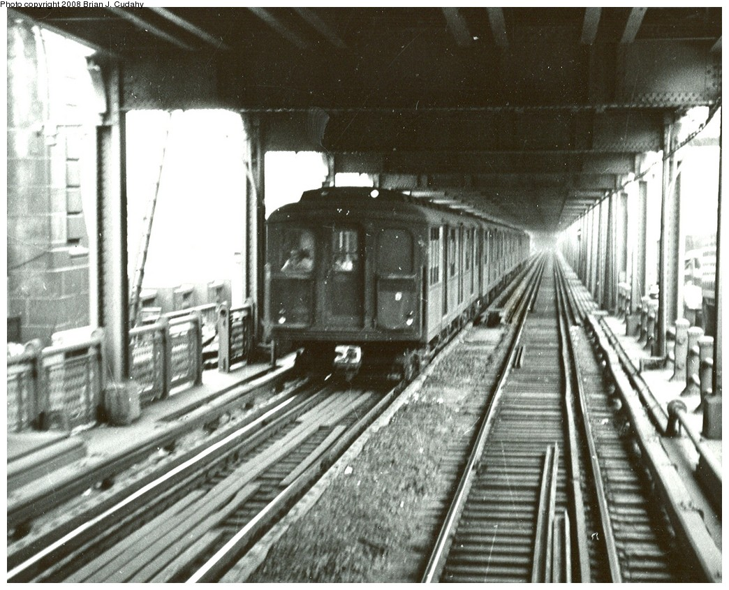 (266k, 1044x845)<br><b>Country:</b> United States<br><b>City:</b> New York<br><b>System:</b> New York City Transit<br><b>Location:</b> Manhattan Bridge<br><b>Car:</b> BMT A/B-Type Standard  <br><b>Photo by:</b> Brian J. Cudahy<br><b>Date:</b> 1955<br><b>Viewed (this week/total):</b> 0 / 2391
