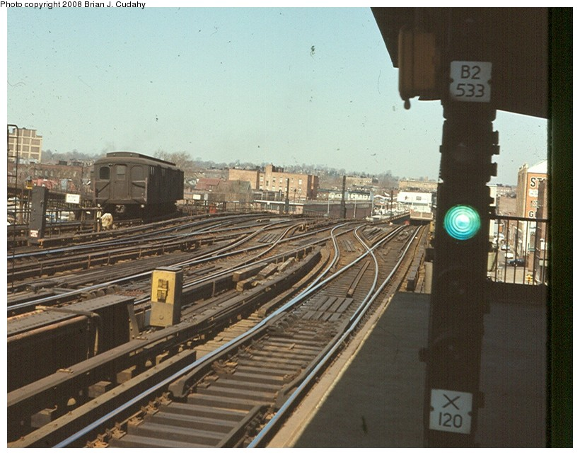 (144k, 820x643)<br><b>Country:</b> United States<br><b>City:</b> New York<br><b>System:</b> New York City Transit<br><b>Line:</b> BMT Culver Line<br><b>Location:</b> Ditmas Avenue <br><b>Car:</b> BMT A/B-Type Standard  <br><b>Photo by:</b> Brian J. Cudahy<br><b>Notes:</b> View of Culver line north of Ditmas after IND connection and shuttle conversion. Mid 1960s.<br><b>Viewed (this week/total):</b> 1 / 3288