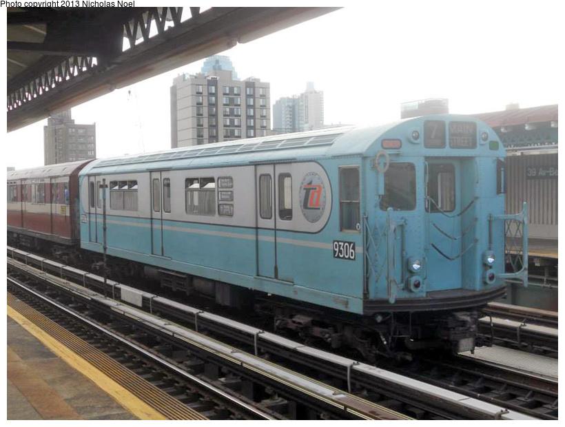 (198k, 820x620)<br><b>Country:</b> United States<br><b>City:</b> New York<br><b>System:</b> New York City Transit<br><b>Line:</b> BMT Astoria Line<br><b>Location:</b> 39th/Beebe Aves. <br><b>Route:</b> Museum Train Service<br><b>Car:</b> R-33 World's Fair (St. Louis, 1963-64) 9306 <br><b>Photo by:</b> Nicholas Noel<br><b>Date:</b> 12/19/2013<br><b>Notes:</b> Yard move from Flushing Line<br><b>Viewed (this week/total):</b> 0 / 968