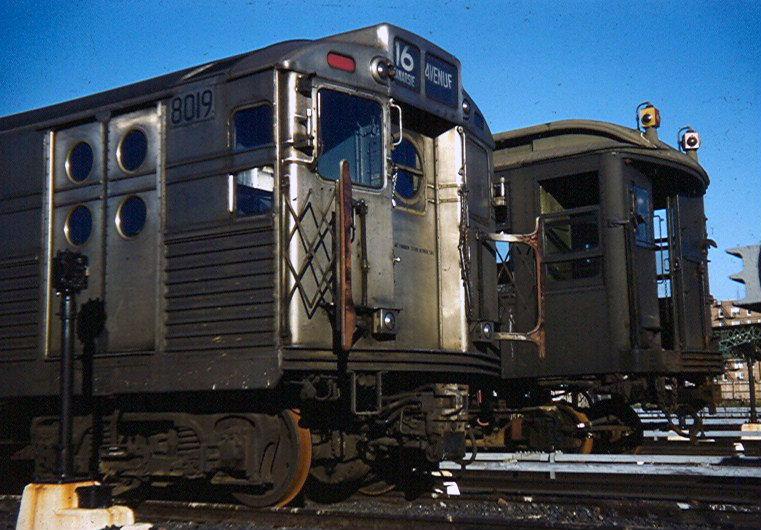 (155k, 761x530)<br><b>Country:</b> United States<br><b>City:</b> New York<br><b>System:</b> New York City Transit<br><b>Location:</b> Coney Island Yard<br><b>Car:</b> R-11 (Budd, 1949) 8019 <br><b>Photo by:</b> Brian J. Cudahy<br><b>Notes:</b> Circa 1956. R-11 units prior to their reconfiguration into R-34s, along with Q units recently rendered surplus with the abandonment of the Third Avenue El.<br><b>Viewed (this week/total):</b> 3 / 2734