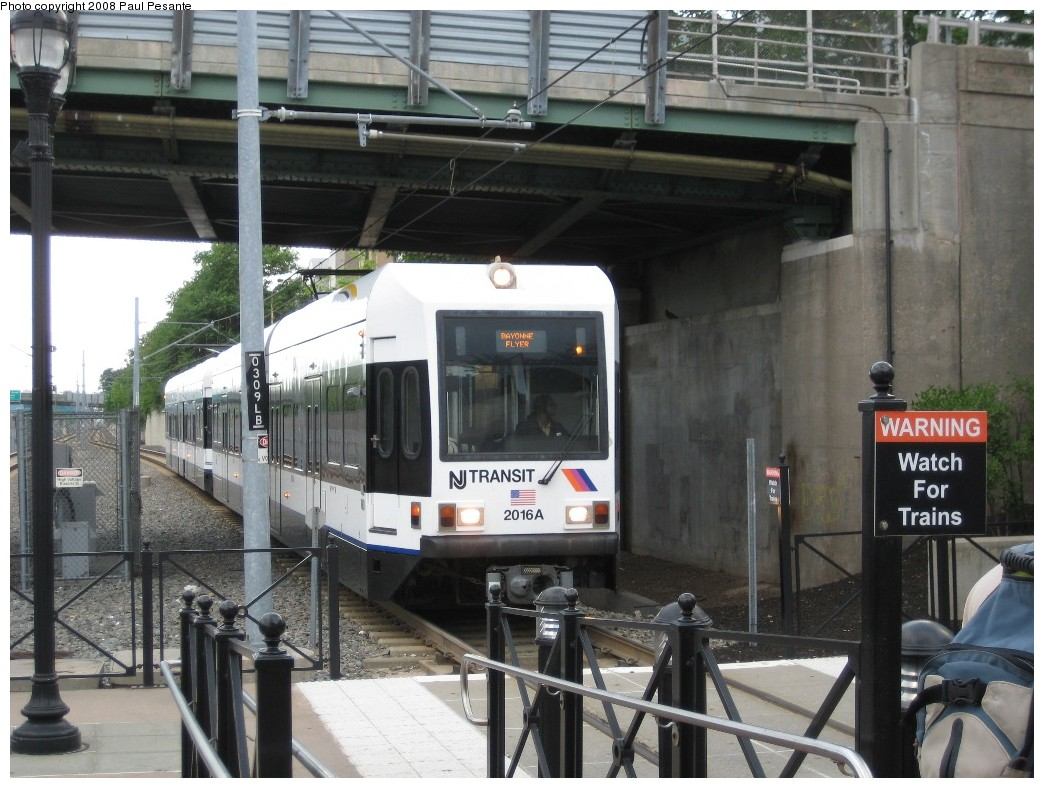 (217k, 1044x788)<br><b>Country:</b> United States<br><b>City:</b> Bayonne, NJ<br><b>System:</b> Hudson Bergen Light Rail<br><b>Location:</b> East 45th Street <br><b>Car:</b> NJT-HBLR LRV (Kinki-Sharyo, 1998-99)  2016 <br><b>Photo by:</b> Paul Pesante<br><b>Date:</b> 6/19/2008<br><b>Notes:</b> Bayonne Flyer express running wrong rail.<br><b>Viewed (this week/total):</b> 0 / 796