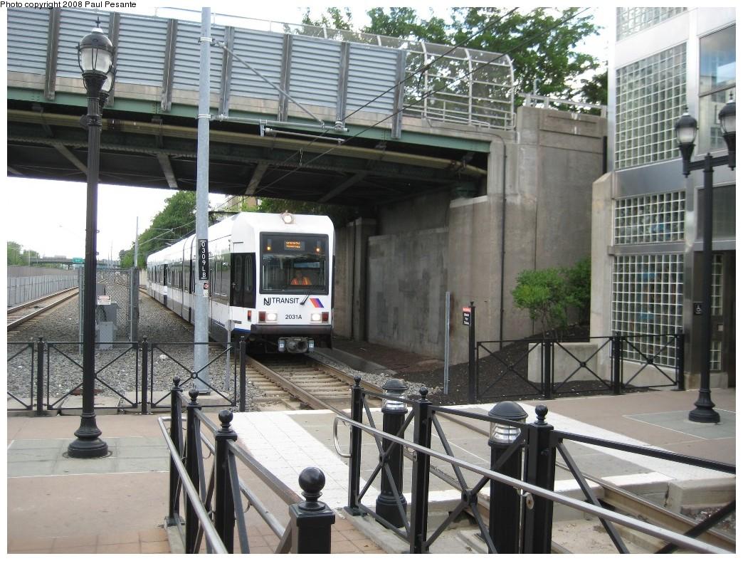 (257k, 1044x788)<br><b>Country:</b> United States<br><b>City:</b> Bayonne, NJ<br><b>System:</b> Hudson Bergen Light Rail<br><b>Location:</b> East 45th Street <br><b>Car:</b> NJT-HBLR LRV (Kinki-Sharyo, 1998-99)  2031 <br><b>Photo by:</b> Paul Pesante<br><b>Date:</b> 6/19/2008<br><b>Notes:</b> Hoboken train running wrong rail.<br><b>Viewed (this week/total):</b> 0 / 836