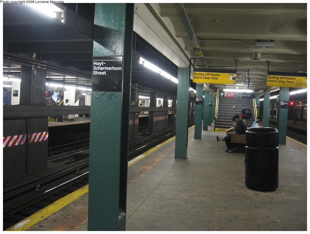 (225k, 1044x788)<br><b>Country:</b> United States<br><b>City:</b> New York<br><b>System:</b> New York City Transit<br><b>Line:</b> IND Fulton Street Line<br><b>Location:</b> Hoyt-Schermerhorn Street <br><b>Photo by:</b> Lorraine Maruska<br><b>Date:</b> 6/3/2008<br><b>Viewed (this week/total):</b> 0 / 2035