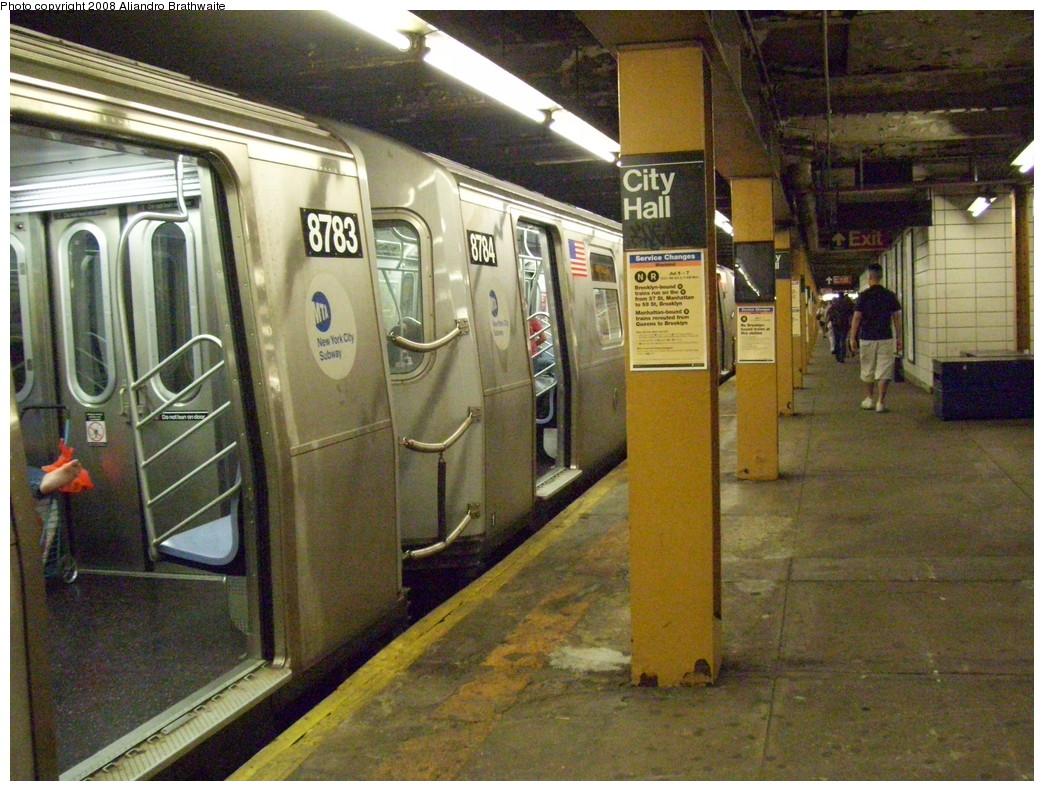 (281k, 1044x791)<br><b>Country:</b> United States<br><b>City:</b> New York<br><b>System:</b> New York City Transit<br><b>Line:</b> BMT Broadway Line<br><b>Location:</b> City Hall <br><b>Route:</b> W<br><b>Car:</b> R-160B (Kawasaki, 2005-2008)  8784 <br><b>Photo by:</b> Aliandro Brathwaite<br><b>Date:</b> 7/1/2008<br><b>Viewed (this week/total):</b> 0 / 3027