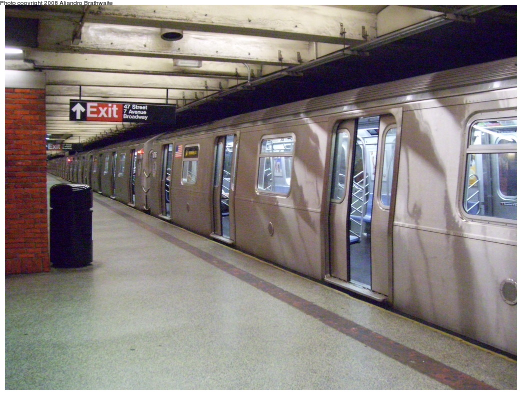(264k, 1044x791)<br><b>Country:</b> United States<br><b>City:</b> New York<br><b>System:</b> New York City Transit<br><b>Line:</b> BMT Broadway Line<br><b>Location:</b> 49th Street <br><b>Route:</b> N<br><b>Car:</b> R-160B (Kawasaki, 2005-2008)  8794 <br><b>Photo by:</b> Aliandro Brathwaite<br><b>Date:</b> 6/19/2008<br><b>Viewed (this week/total):</b> 1 / 2845