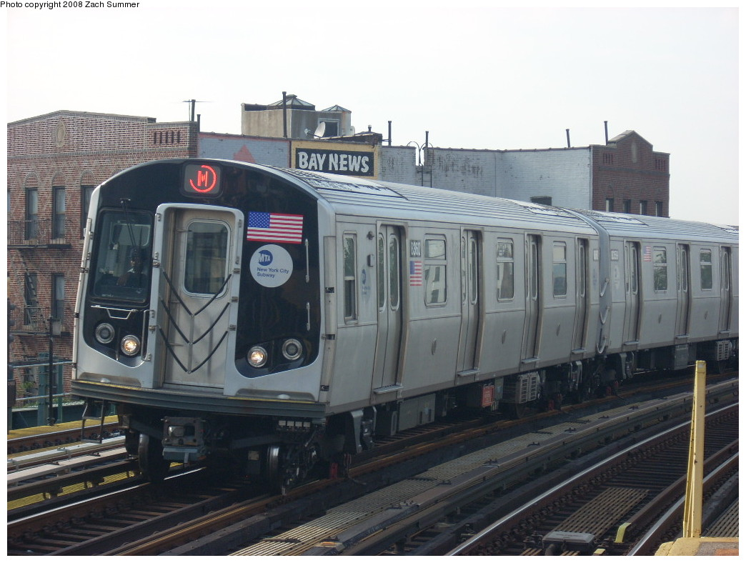 (238k, 1044x788)<br><b>Country:</b> United States<br><b>City:</b> New York<br><b>System:</b> New York City Transit<br><b>Line:</b> BMT West End Line<br><b>Location:</b> 18th Avenue <br><b>Route:</b> M<br><b>Car:</b> R-160A-1 (Alstom, 2005-2008, 4 car sets)  8360 <br><b>Photo by:</b> Zach Summer<br><b>Date:</b> 6/26/2008<br><b>Viewed (this week/total):</b> 0 / 1711