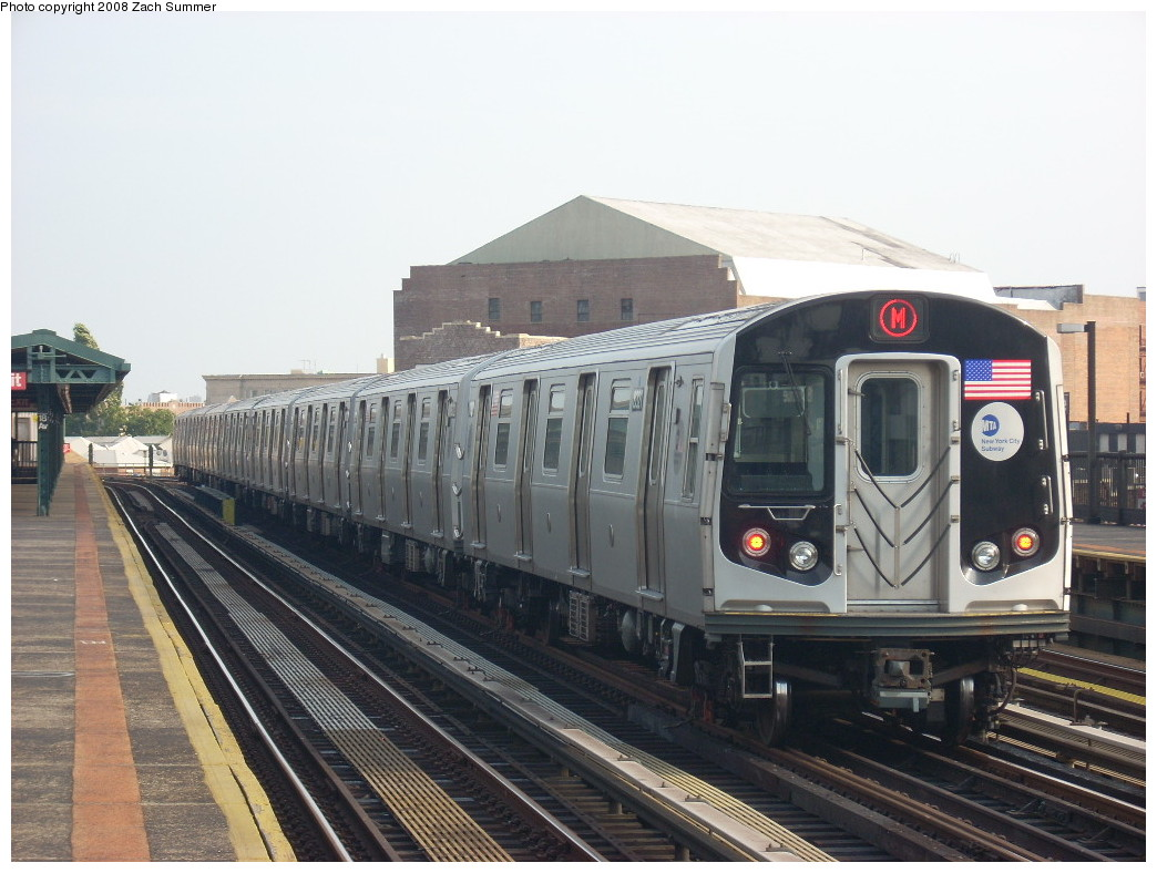 (237k, 1044x788)<br><b>Country:</b> United States<br><b>City:</b> New York<br><b>System:</b> New York City Transit<br><b>Line:</b> BMT West End Line<br><b>Location:</b> 18th Avenue <br><b>Route:</b> M<br><b>Car:</b> R-160A-1 (Alstom, 2005-2008, 4 car sets)  8321 <br><b>Photo by:</b> Zach Summer<br><b>Date:</b> 6/26/2008<br><b>Viewed (this week/total):</b> 0 / 1737