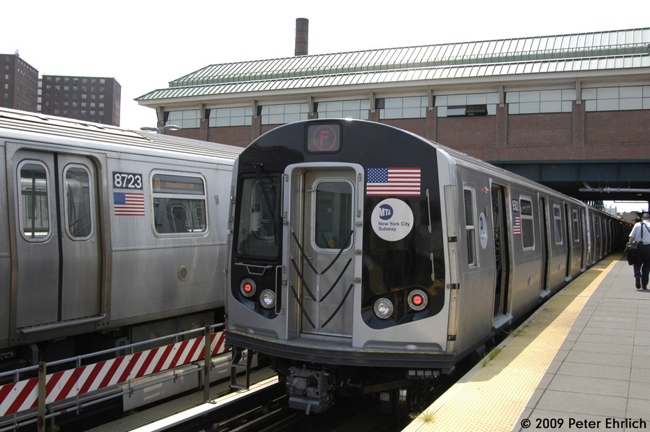 (205k, 930x618)<br><b>Country:</b> United States<br><b>City:</b> New York<br><b>System:</b> New York City Transit<br><b>Location:</b> Coney Island/Stillwell Avenue<br><b>Car:</b> R-160B (Kawasaki, 2005-2008)  8723 <br><b>Photo by:</b> Peter Ehrlich<br><b>Date:</b> 7/22/2009<br><b>Notes:</b> 8723 is on the Q line, 9502 on the F Line.<br><b>Viewed (this week/total):</b> 0 / 1241