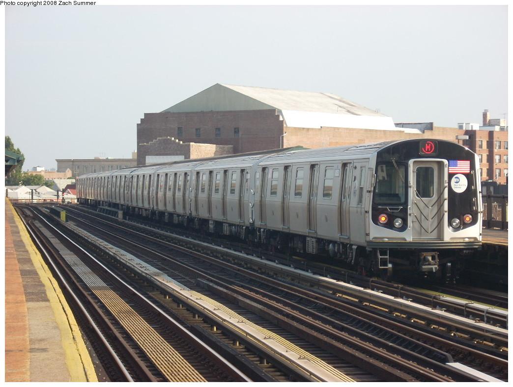 (248k, 1044x788)<br><b>Country:</b> United States<br><b>City:</b> New York<br><b>System:</b> New York City Transit<br><b>Line:</b> BMT West End Line<br><b>Location:</b> 18th Avenue <br><b>Route:</b> M<br><b>Car:</b> R-160A-1 (Alstom, 2005-2008, 4 car sets)  8353 <br><b>Photo by:</b> Zach Summer<br><b>Date:</b> 6/26/2008<br><b>Viewed (this week/total):</b> 0 / 1352