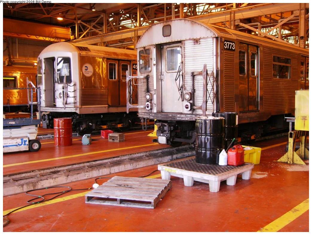 (255k, 1044x788)<br><b>Country:</b> United States<br><b>City:</b> New York<br><b>System:</b> New York City Transit<br><b>Location:</b> Coney Island Shop/Overhaul & Repair Shop<br><b>Car:</b> R-32 (Budd, 1964)  3773 <br><b>Photo by:</b> Bill Demo<br><b>Date:</b> 7/1/2008<br><b>Viewed (this week/total):</b> 3 / 1719