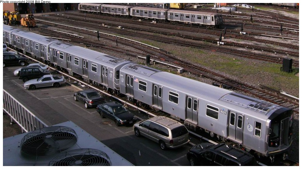 (207k, 1027x575)<br><b>Country:</b> United States<br><b>City:</b> New York<br><b>System:</b> New York City Transit<br><b>Location:</b> Coney Island Yard<br><b>Car:</b> R-160A-1 (Alstom, 2005-2008, 4 car sets)  8325 <br><b>Photo by:</b> Bill Demo<br><b>Date:</b> 7/1/2008<br><b>Viewed (this week/total):</b> 3 / 2361