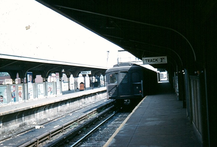 (87k, 696x471)<br><b>Country:</b> United States<br><b>City:</b> New York<br><b>System:</b> New York City Transit<br><b>Location:</b> Coney Island/Stillwell Avenue<br><b>Car:</b> BMT A/B-Type Standard  <br><b>Photo by:</b> Brian J. Cudahy<br><b>Date:</b> 1954<br><b>Notes:</b> Culver platform at Stillwell Ave.<br><b>Viewed (this week/total):</b> 1 / 1606