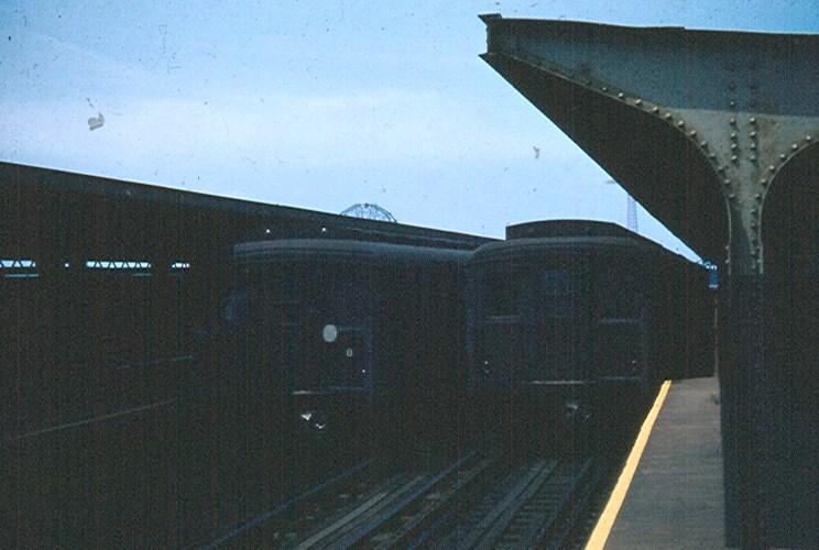 (109k, 744x500)<br><b>Country:</b> United States<br><b>City:</b> New York<br><b>System:</b> New York City Transit<br><b>Line:</b> BMT Brighton Line<br><b>Location:</b> West 8th Street <br><b>Car:</b> BMT A/B-Type Standard  <br><b>Photo by:</b> Brian J. Cudahy<br><b>Date:</b> 7/1954<br><b>Notes:</b> Southbound Brighton-Franklin Express at West 8th Street in July of 1954.<br><b>Viewed (this week/total):</b> 3 / 1493