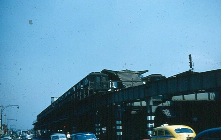(96k, 767x485)<br><b>Country:</b> United States<br><b>City:</b> New York<br><b>System:</b> New York City Transit<br><b>Location:</b> Coney Island/Stillwell Avenue<br><b>Car:</b> BMT A/B-Type Standard  <br><b>Photo by:</b> Brian J. Cudahy<br><b>Date:</b> 1954<br><b>Notes:</b> Track H at Stillwell with ABs on a West End Express.<br><b>Viewed (this week/total):</b> 1 / 1999