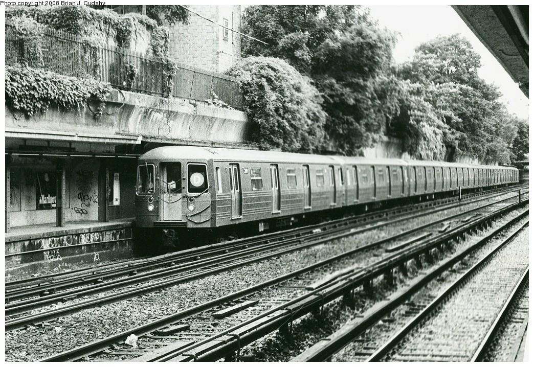 (323k, 1044x718)<br><b>Country:</b> United States<br><b>City:</b> New York<br><b>System:</b> New York City Transit<br><b>Line:</b> BMT Brighton Line<br><b>Location:</b> Beverley Road <br><b>Car:</b> R-68/R-68A Series (Number Unknown)  <br><b>Photo by:</b> Brian J. Cudahy<br><b>Notes:</b> Beverley Road, ca. 1990<br><b>Viewed (this week/total):</b> 5 / 2392