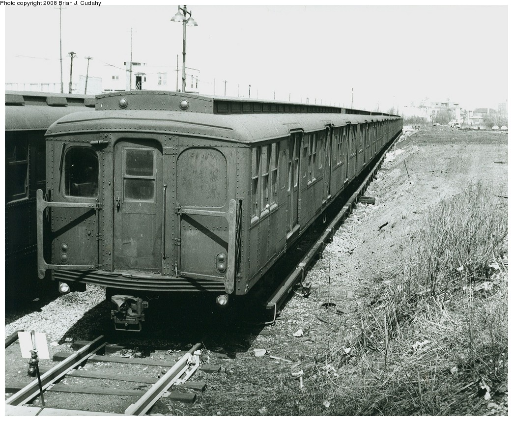 (307k, 1044x857)<br><b>Country:</b> United States<br><b>City:</b> New York<br><b>System:</b> New York City Transit<br><b>Location:</b> Rockaway Parkway (Canarsie) Yard<br><b>Car:</b> BMT A/B-Type Standard  <br><b>Photo by:</b> Brian J. Cudahy<br><b>Notes:</b> B Units at Rockaway Parkway, ca 1969.<br><b>Viewed (this week/total):</b> 1 / 1451