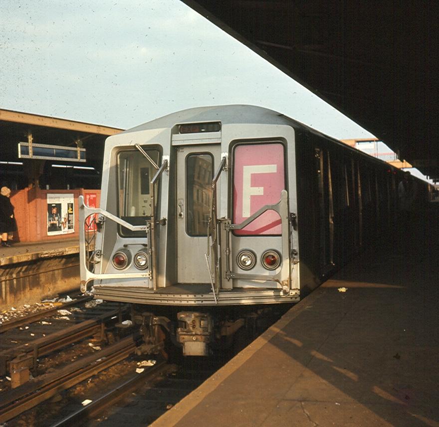 (436k, 880x856)<br><b>Country:</b> United States<br><b>City:</b> New York<br><b>System:</b> New York City Transit<br><b>Location:</b> Coney Island/Stillwell Avenue<br><b>Route:</b> F<br><b>Car:</b> R-40 (St. Louis, 1968)   <br><b>Photo by:</b> Brian J. Cudahy<br><b>Date:</b> 1969<br><b>Notes:</b> R-40s in F service at Stillwell.<br><b>Viewed (this week/total):</b> 0 / 5768
