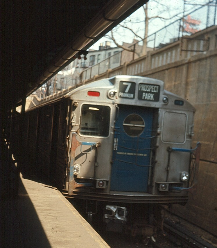 (146k, 747x854)<br><b>Country:</b> United States<br><b>City:</b> New York<br><b>System:</b> New York City Transit<br><b>Line:</b> BMT Franklin<br><b>Location:</b> Prospect Park <br><b>Route:</b> Franklin Shuttle<br><b>Car:</b> R-11 (Budd, 1949)  <br><b>Photo by:</b> Brian J. Cudahy<br><b>Date:</b> 1970<br><b>Notes:</b> R-34 (rebuilt R-11) units on Franklin Shuttle at Prospect Park.<br><b>Viewed (this week/total):</b> 1 / 1986