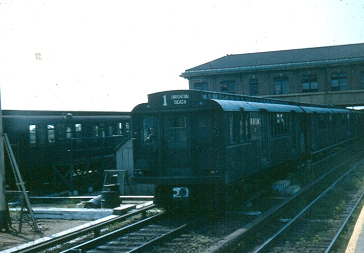 (102k, 744x517)<br><b>Country:</b> United States<br><b>City:</b> New York<br><b>System:</b> New York City Transit<br><b>Location:</b> Coney Island/Stillwell Avenue<br><b>Route:</b> BMT 1<br><b>Car:</b> BMT D-Type Triplex 6010 <br><b>Photo by:</b> Brian J. Cudahy<br><b>Date:</b> 1954<br><b>Notes:</b> D unit #6010 leads an out-of-service Brighton Express through Stillwell Avenue en route to CI Yards for service.<br><b>Viewed (this week/total):</b> 0 / 1515