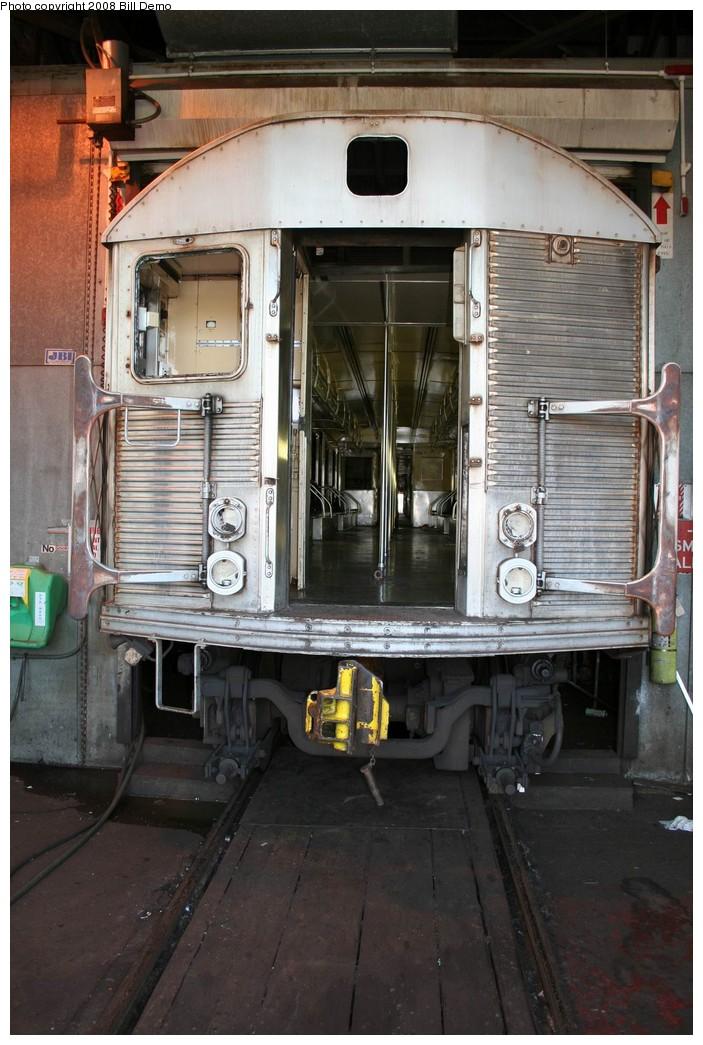 (203k, 703x1045)<br><b>Country:</b> United States<br><b>City:</b> New York<br><b>System:</b> New York City Transit<br><b>Location:</b> 207th Street Yard<br><b>Car:</b> R-32 (Budd, 1964)   <br><b>Photo by:</b> Pete Monty<br><b>Collection of:</b> Bill Demo<br><b>Date:</b> 6/16/2008<br><b>Notes:</b> Being stripped for scrapping.<br><b>Viewed (this week/total):</b> 0 / 1711