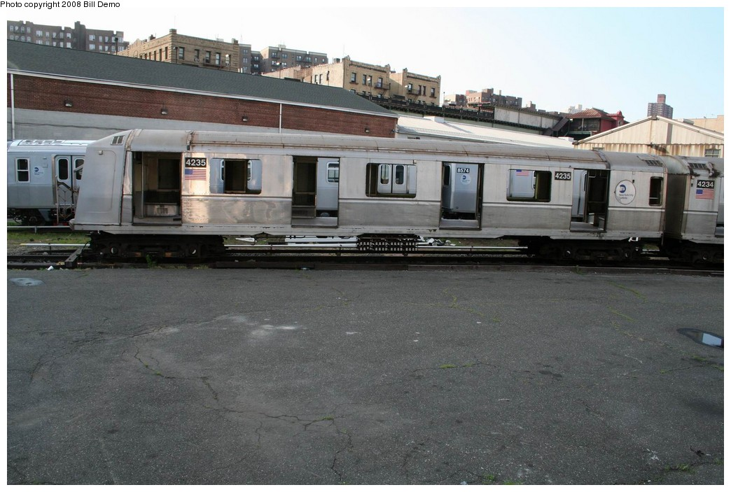 (201k, 1044x703)<br><b>Country:</b> United States<br><b>City:</b> New York<br><b>System:</b> New York City Transit<br><b>Location:</b> 207th Street Yard<br><b>Car:</b> R-40 (St. Louis, 1968)  4235 <br><b>Photo by:</b> Pete Monty<br><b>Collection of:</b> Bill Demo<br><b>Date:</b> 6/16/2008<br><b>Notes:</b> Being stripped for scrapping.<br><b>Viewed (this week/total):</b> 1 / 1421