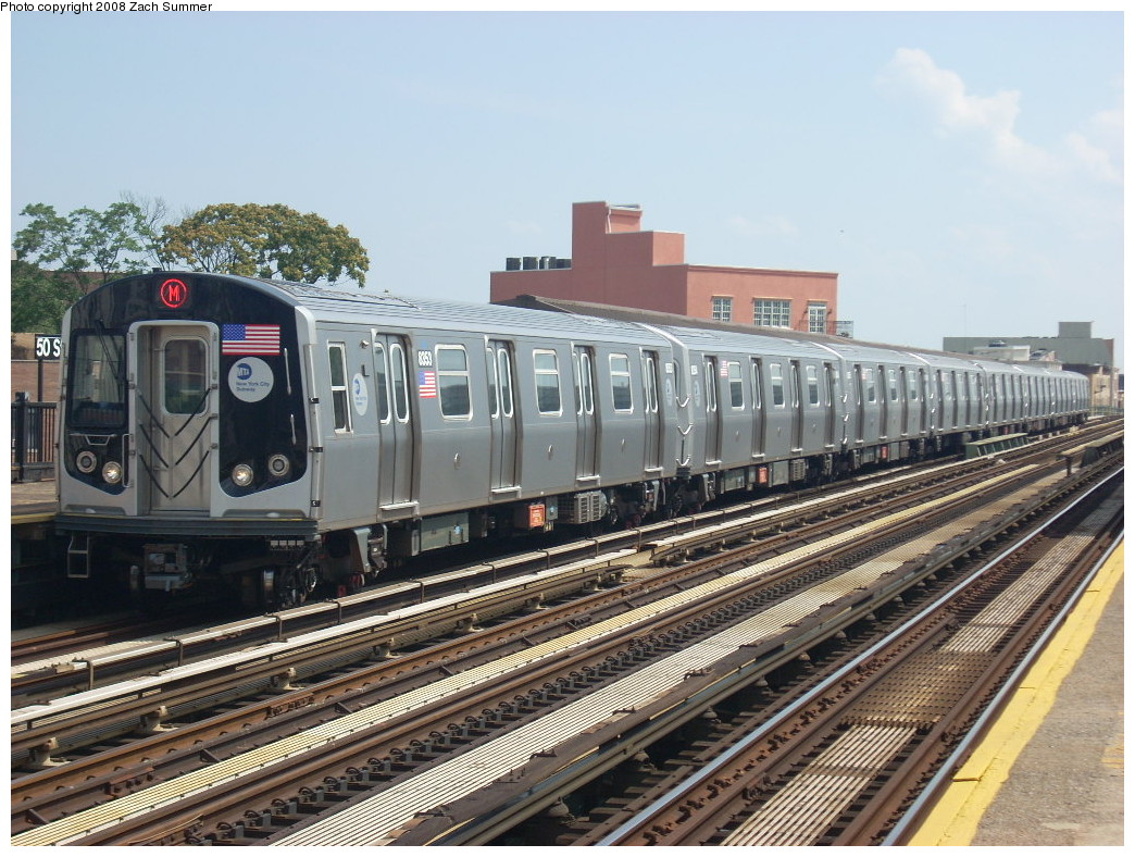(285k, 1044x788)<br><b>Country:</b> United States<br><b>City:</b> New York<br><b>System:</b> New York City Transit<br><b>Line:</b> BMT West End Line<br><b>Location:</b> 50th Street <br><b>Route:</b> M<br><b>Car:</b> R-160A-1 (Alstom, 2005-2008, 4 car sets)  8353 <br><b>Photo by:</b> Zach Summer<br><b>Date:</b> 6/30/2008<br><b>Viewed (this week/total):</b> 0 / 1408