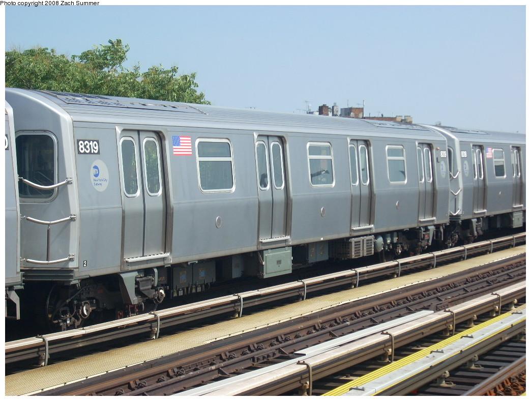(262k, 1044x788)<br><b>Country:</b> United States<br><b>City:</b> New York<br><b>System:</b> New York City Transit<br><b>Line:</b> BMT West End Line<br><b>Location:</b> 55th Street <br><b>Route:</b> M<br><b>Car:</b> R-160A-1 (Alstom, 2005-2008, 4 car sets)  8319 <br><b>Photo by:</b> Zach Summer<br><b>Date:</b> 6/30/2008<br><b>Viewed (this week/total):</b> 0 / 1935